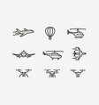 set airplane icon transport symbol in linear vector image