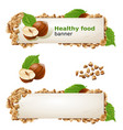 set banners with hazelnuts and ground nuts vector image vector image
