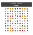 set clothes and shoes icon with filled outline vector image vector image