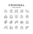 set line icons of criminal vector image