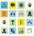 set of 16 human resources icons includes manager vector image vector image