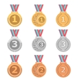 Set of gold silver and bronze medals in different vector image