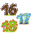 set of numbers with number of animals vector image