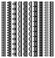 set of vertical seamless borders for design black vector image vector image