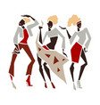 silhouette fashion girl set vector image