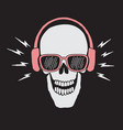skull listen a music in headphones vector image