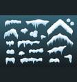 snow ice set winter roof cap design white blue vector image vector image