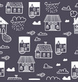 spring town seamless pattern with hand draw vector image vector image