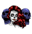 sugar skull girl face with make up for day the vector image vector image