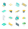 swimming pool elements 3d icons set isometric view vector image vector image