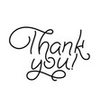thank you card hand drawn lettering ink line vector image