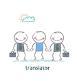 translator helps foreign businessmen vector image vector image