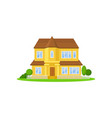 two-storey yellow house with wooden roof little vector image vector image