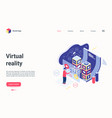 virtual augmented reality isometric landing page vector image vector image
