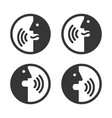voice command icons set face with sound waves vector image vector image