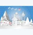 winter season with snowflake house child and vector image