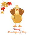 thanksgiving funny turkey on white background vector image