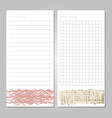 notebook page templates with paper for notes vector image
