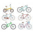 set of hand drawn bicycles modern and retro style vector image