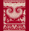 set of seamless borders on red textured background vector image