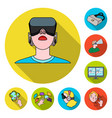a virtual reality flat icons in set collection for vector image