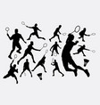 badminton sport tounament male player silhouette vector image
