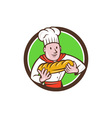 Baker Holding Bread Loaf Circle Cartoon vector image vector image