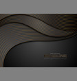 black corporate wavy background with bronze lines vector image vector image
