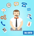 Call center operator for web and mobile 24h all th vector image