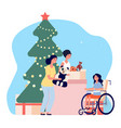 christmas charity volunteers gift toy to disabled vector image vector image