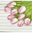 Color tulips on wooden background EPS 10 vector image vector image
