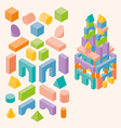 Colored building blocks for children vector image vector image