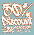 discount graffiti 50 25 75 v vector image vector image