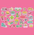 fashioned girl badges stickers with rainbow and vector image