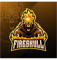 fire skull esport mascot logo design vector image