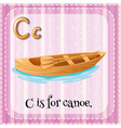 Flashcard letter C is for canoe vector image