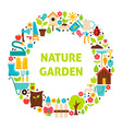 Flat Circle Set of Nature Garden Objects over vector image vector image