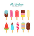 flat ice cream collection vector image vector image