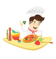 Funny chef decorating pizza dish in the kitchen vector image vector image