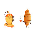 funny croissant and pancake breakfast characters vector image vector image