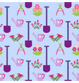 garden seamless pattern with gardening tools vector image