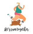 girl and dog run together vector image vector image