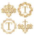 Golden T letter vintage monograms set Heraldic vector image vector image