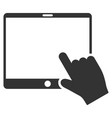 hand pointer tablet flat icon vector image vector image