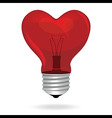 Heart love light bulb isolated object vector image vector image