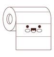 kawaii roll paper towel in brown silhouette vector image vector image