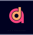 letter d into letter a monogram music business vector image