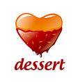 logo heart shaped dessert with chocolate vector image vector image