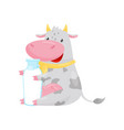 lovely cow sitting with glass bottle of milk vector image
