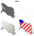 Marin County California outline map set vector image vector image